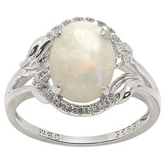 De Buman 1.4ctw Genuine Opal 925 Silver Ring Size 6.5 De ...
