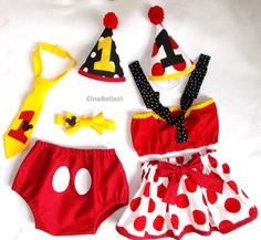 Minnie Mouse Birthday outfit cake smash Mickey Mouse baby girl boy hat diaper cover skirt bowtie twins brother sister 9 12 18 24 m toddler on Etsy, $17.50