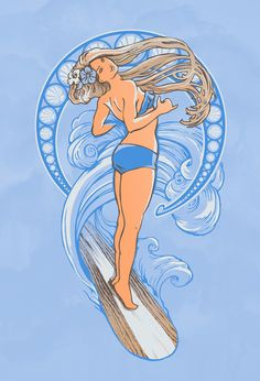 Surf Nouveau Art Print by jewelwing