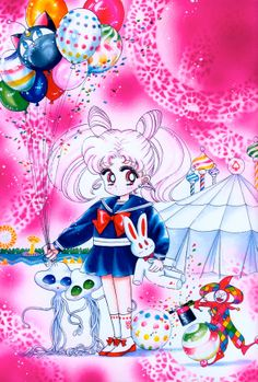 ChibiUsa (Title Page from the May, 1993 Issue of Nakayoshi); from Bishoujo Senshi Sailor Moon Original Picture Collection, Vol. II | art by Naoko Takeuchi