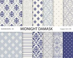 Navy blue Damask Paper vintage navy blue by ValerianeDigital, $3.00
