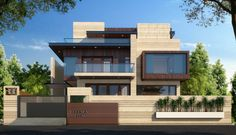 New House Compound Wall Pictures Design - Home Design Modern Exterior House Designs, Modern House Plans, Exterior Design, Bungalow Exterior, Bungalow Haus Design, Duplex House Design, Architect Design House, Modern Bungalow, Front Elevation Designs