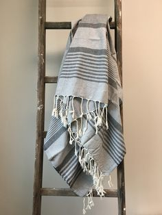 Grey on Grey Fouta Beach Blanket – Greige Design Desert Homes, Beach Blanket, Decorative Objects, Decoration, Ladder Decor, Summertime, Design Inspiration, Stripes, Grey
