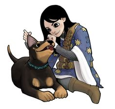 Sabriel and the Dog. From Garth Nix's Abhorsen trilogy.  Read this forever ago... I love it