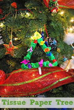Christmas Tree Ornament - Easy to make using tissue paper and popsicle sticks. #shop #ThisisStyle #Cbias