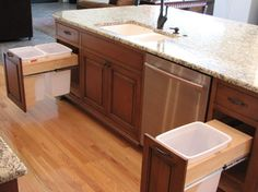 Pull-out garbage cans; double and single - If the single was supported on the bottom, there would be enough extra space to store the garbage bags. - Kitchen Remodel - traditional - kitchen - charlotte - Distinctive Design / Build / Remodel, LLC.