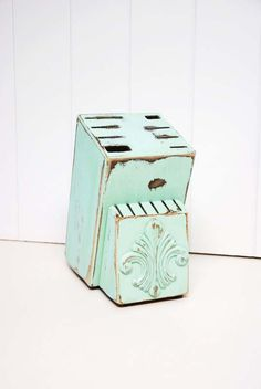 [Shabby Chic Knife Block in Light Aqua by by speckleddog on Etsy, $20.00]  Ugh, can I have this please?!