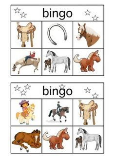 6 different Horse Bingo Cards, calling cards included, 29 different images. Great for fans of horses.