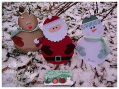 Santa reindeer and snowman gift card holders