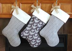 Stylish Brown Ivory Linen Christmas Stockings by JacqueAnnDecor