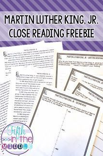 The free close reading activity will have students learning about Martin Luther King, Jr. in an engaging way!