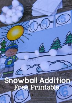 A free printable for addition to 10 in a fun winter theme! Adding is so much more fun when there are snowballs involved!