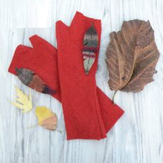 Burnt Orange Fingerless Gloves Felted Wool Upcycled by GypsyIntent
