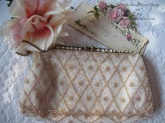 Vintage Beaded  Purse Jolles Original Wedding Tea Party Mid Century Retro Party Dance Cocktail Purse  WhenRosesBloom