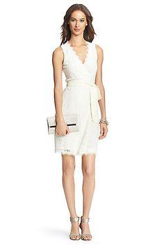 DVF Julianna Two Lace Wrap Dress in Ivory