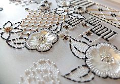 Pearl Embroidery, Tambour Embroidery, Bead Embroidery Patterns, Hand Work Embroidery, Couture Embroidery, Beaded Embroidery, Embroidery Designs, Couture Embellishment, Fabric Embellishment