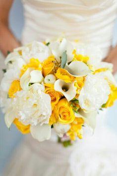 Yellow & White Bouquet Features: Yellow Roses, Yellow Ranunculus, Yellow Freesia, White Peonies, White Ranunculus, White Calla Lilies, White Tulips, & Green Seeded Eucalyptus.........
