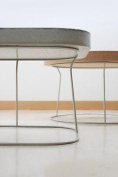 Sábado y domingo. Side tables made of concrete and cork.