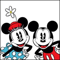 Classic Mickey and Minnie Mouse.