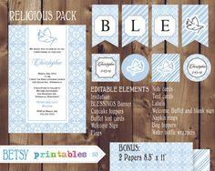 Religious celebration Kit, Baptism, Christening, First Communion, Confirmation DIY Editable - INSTANT DOWNLOAD 103