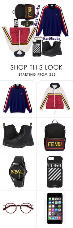 """""""Men's Colors"""" by karilooks ❤ liked on Polyvore featuring Lacoste, Gucci, Dr. Martens, Fendi, Off-White, EyeBuyDirect.com, Dolce&Gabbana, men's fashion and menswear"""