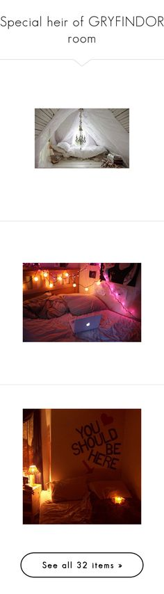 """Special heir of GRYFINDOR room"" by victoria-carr-1 ❤ liked on Polyvore featuring rooms, pictures, backgrounds, house, bedrooms, home, home decor, houses, quotes and phrase"