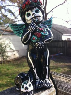 Day of the dead ceramic angel with sugar skull bunny by MrsMuertos