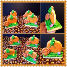 Made these Thanksgiving pumpkin cookies with turkey cupcake ring topper :)