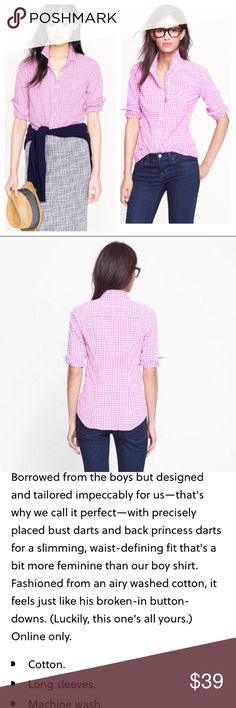 J. Crew the Perfect shirt pink check gingham Truly the perfect Button Up Down shirt, ready for work or play. 100% lightweight cotton in a bright pink mini gingham print. Darted for a feminine fit. Measures 18 inches across under arms, 24 inches length shoulder to hem. Excellent condition! J. Crew Tops Blouses