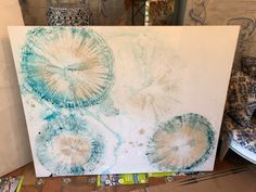 Austin Smith Art Blue Button Jelly Fish Resin and Mixed Media on Canvas Abstract Art textured art Mixed Media Canvas, Mixed Media Art, Art Blue, Jellyfish Art, Abstract Canvas Art, Texture Art, Color Inspiration, Jelly Fish, Vintage World Maps