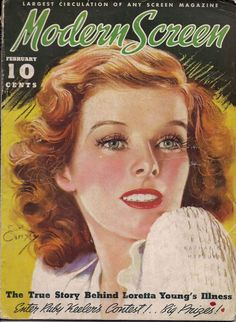 "Katharine Hepburn on the front cover of ""Modern Screen"" magazine, USA, February 1936."