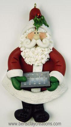 Ornament  IPad Santa by BertsClayCreations on Etsy, $15.50