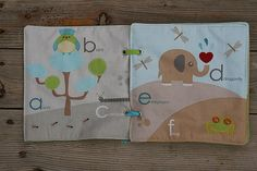 Jungle alphabet Fabric book. Consist of 5 sheets.  This is a first baby book. Rumple, bend, chew... everything allowed :) Special quality time to spend with your child reading about animals and learning ABC. MATERIALS: 100% cotton fabric, polyfil, eyelets, ribbons,  SIZE: 19x19 cm (7.5x7.5 inch)  CARRYING: hand wash in warm water with mild soap.  MORE BOOKS: Made to order http://etsy.me/1QVmed2 Ready made http://etsy.me/1s4mBOE  Thank you for visiting my store. Find more at…