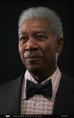 35 incríveis retratos de celebridades em 3D - Morgan Freeman