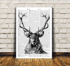 Deer poster. Nice dictionary print. Cool modern decor for home and office. Animal art. SIZES: A4 (8.3 x 11) and A3 (11.6 x 16.3)  BUY 1 GET 1 FREE