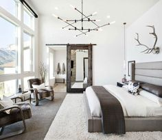 Inspiration for a rustic master carpeted bedroom remodel in Salt Lake City with . Inspiration for a rustic master carpeted bedroom remodel in Salt Lake City with white walls Master Bedroom Design, Home Decor Bedroom, Modern Bedroom, Master Bedrooms, Bedroom Designs, Bedroom Interiors, Bedroom Ideas, Warm Bedroom, Rustic Bedrooms