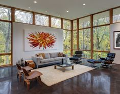 The Fieldstone House in Wisconsin is home to a living room with dramatic views.
