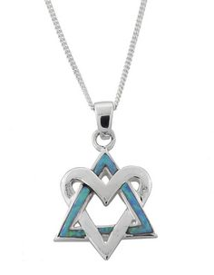 This fantastic necklace is a totally unique and unprecendented take on a classic theme!  The two interlocking triangles of the Star of David contrast marvelously with each other.  One is covered with dazzling iridescent blue opalite, and the other is sterling silver and in the shape of a heart.  Absolutely stunning!