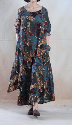 Lake blue vintage Asymmetric linen maxi dress long linen spring dress plus size