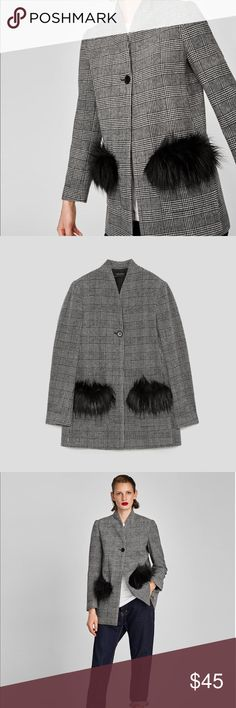ZARA Checkered Blazer with Faux Fur Pockets. NEW Stylish ZARA Fall/Winter 2017/2018 Collection Checkered Blazer. High collar blazer with long sleeves. Features front patch pockets with faux fur trim. Front button closure. 80% polyester, 10% wool. Fully lined. Gray checkered plaid. Size Medium. Brand New. With tags. Zara Jackets & Coats Blazers
