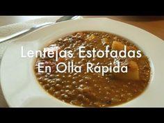 Como Hacer Lentejas en olla express - Recetas fáciles Chorizo, Chili, Soup, Favorite Recipes, Diet, Meals, Cooking, Camera Phone, Instant Pot