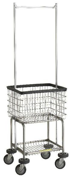 wire laundry carts laundry hampers deluxe elevated laundry cart with double pole rack - Laundry Carts