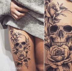 Best Tattoo Designs for Women 2019 - Page 3 of 6 - StarMyFashion Front Thigh Tattoos, Skull Thigh Tattoos, Cute Thigh Tattoos, Skull Girl Tattoo, Skull Sleeve Tattoos, Thigh Tattoo Designs, Leg Sleeve Tattoo, Girls With Sleeve Tattoos, Sleeve Tattoos For Women