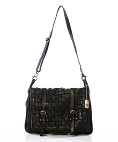 Another great find on #zulily! Black Woven Leather Messenger Bag by Federica Bassi #zulilyfinds