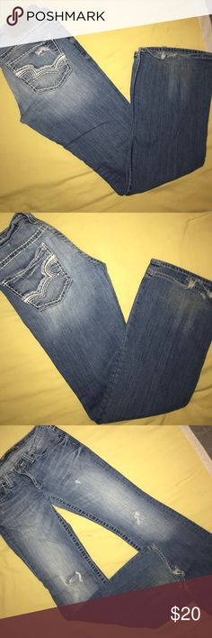 """Big Star """"Sweet"""" extreme low cut jeans EUC. They can distressed but the bottom hem of the jeans has been walked in a little. Doesn't take away from jeans at all!! 30"""" inseam. They are wide leg. Big Star Jeans Flare & Wide Leg"""