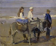 """Boy and girl on donkeys"" 