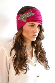 PINK Chunky Knitted Headband Ear Warmer Beaded by AnytimeScarf, $28.00