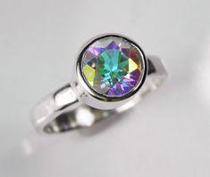 Amazing Mystic Topaz Engagement Ring Unique Alternative Wedding Ring Big Rainbow Gemstone Ice Blue