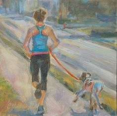 Lady jogging with dog Nashville Music Row Original oil by cdemum, $65.00