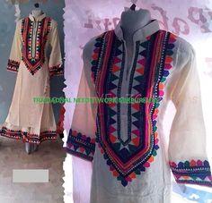. Neckline Designs, Kurti Neck Designs, Applique Dress, Embroidery Dress, Pakistani Dresses, Indian Dresses, Kurti Patterns, Indian Embroidery, Types Of Dresses